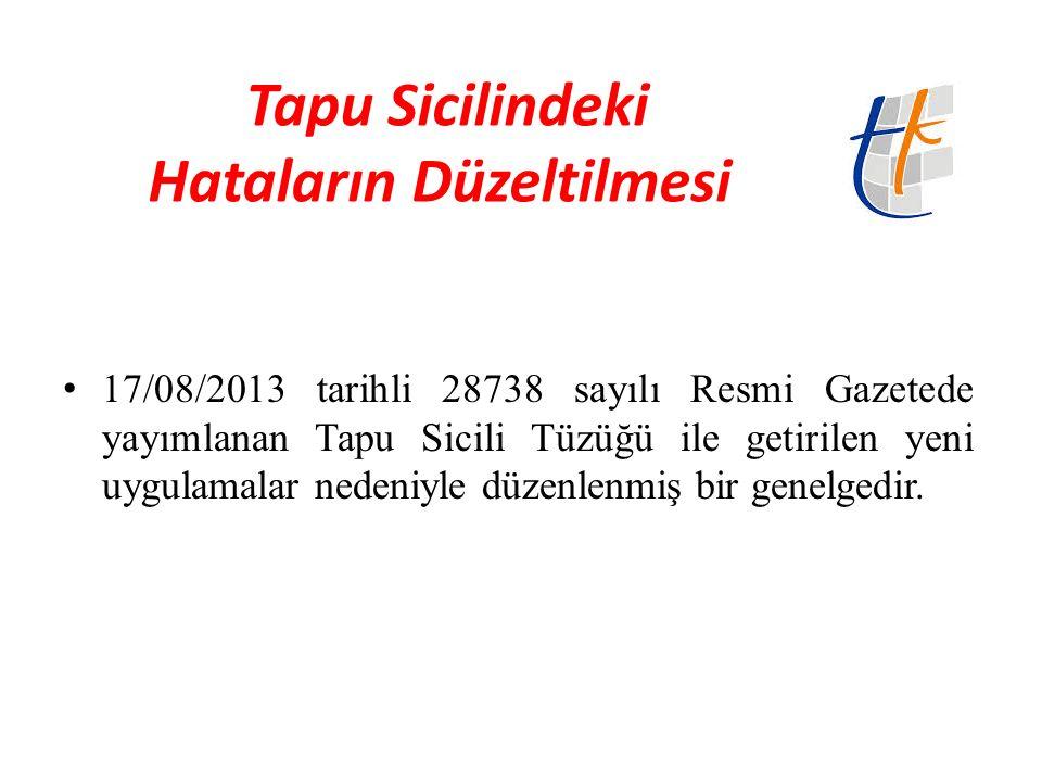 Hak Sahibinin Belirlenmesine Yönelik Mevzuat Türk Medeni Kanunu Madde 1013- Tescil, tasarrufa konu olan taşınmaz malikinin yazılı beyanı üzerine yapılır.