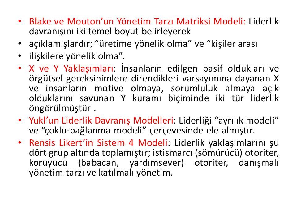 Blake ve Mouton'un Yönetim Tarzı Matriksi Modeli: Liderlik davranışını iki temel boyut belirleyerek açıklamışlardır; üretime yönelik olma ve kişiler arası ilişkilere yönelik olma .