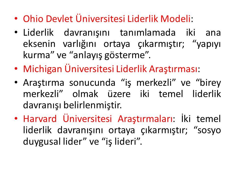 Ohio Devlet Üniversitesi Liderlik Modeli: Liderlik davranışını tanımlamada iki ana eksenin varlığını ortaya çıkarmıştır; yapıyı kurma ve anlayış gösterme .