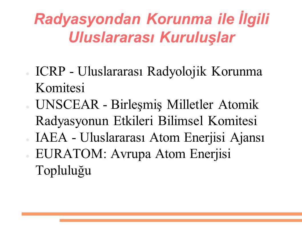 Radyasyondan Korunma ile İlgili Uluslararası Kuruluşlar ● ICRP - Uluslararası Radyolojik Korunma Komitesi ● UNSCEAR - Birleşmiş Milletler Atomik Radya