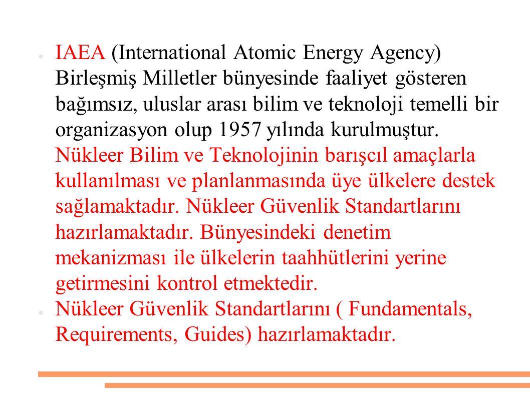 ● EURATOM (European Atomic Energy Comminty): 1958 Roma Antlaşması ile Avrupa Topluluğu çerçevesinde nükleer güvenlik ve radyasyondan korunma ile ilgili yasal zemini oluşturmak üzere kurulmuştur.