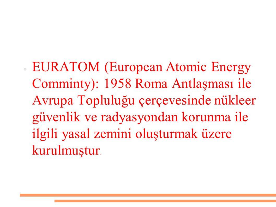 ● EURATOM (European Atomic Energy Comminty): 1958 Roma Antlaşması ile Avrupa Topluluğu çerçevesinde nükleer güvenlik ve radyasyondan korunma ile ilgil