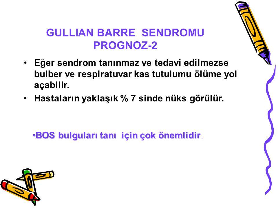 GULLIAN BARRE SENDROMU PROGNOZ-2 Eğer sendrom tanınmaz ve tedavi edilmezse bulber ve respiratuvar kas tutulumu ölüme yol açabilir.