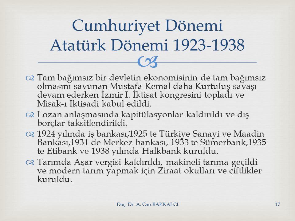   Tam bağımsız bir devletin ekonomisinin de tam bağımsız olmasını savunan Mustafa Kemal daha Kurtuluş savaşı devam ederken İzmir I.