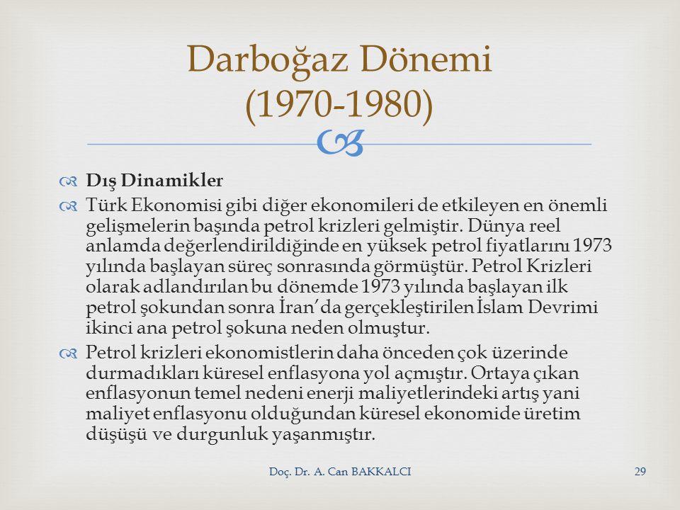   Dış Dinamikler  Türk Ekonomisi gibi diğer ekonomileri de etkileyen en önemli gelişmelerin başında petrol krizleri gelmiştir.