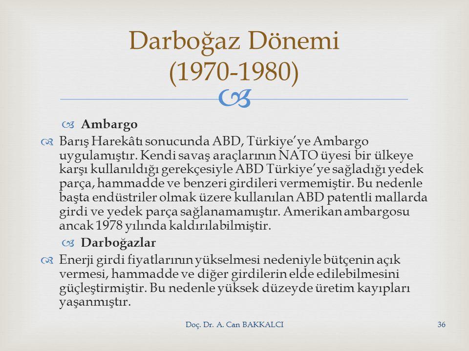   Ambargo  Barış Harekâtı sonucunda ABD, Türkiye'ye Ambargo uygulamıştır.