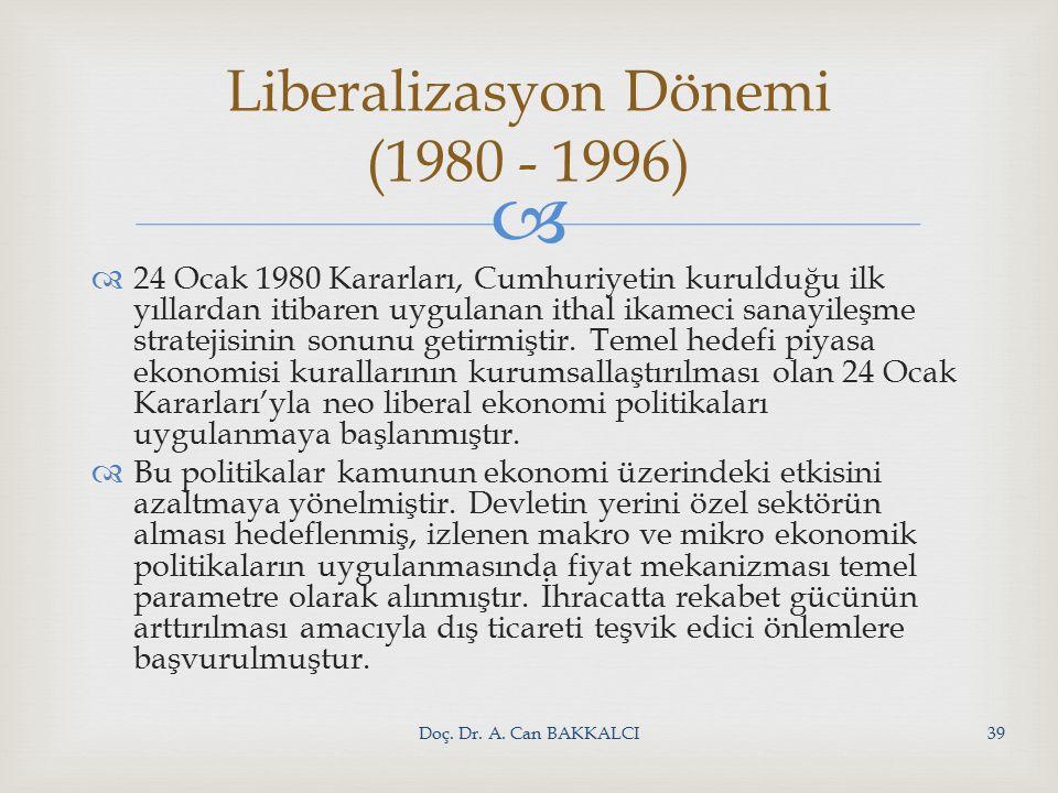   24 Ocak 1980 Kararları, Cumhuriyetin kurulduğu ilk yıllardan itibaren uygulanan ithal ikameci sanayileşme stratejisinin sonunu getirmiştir.