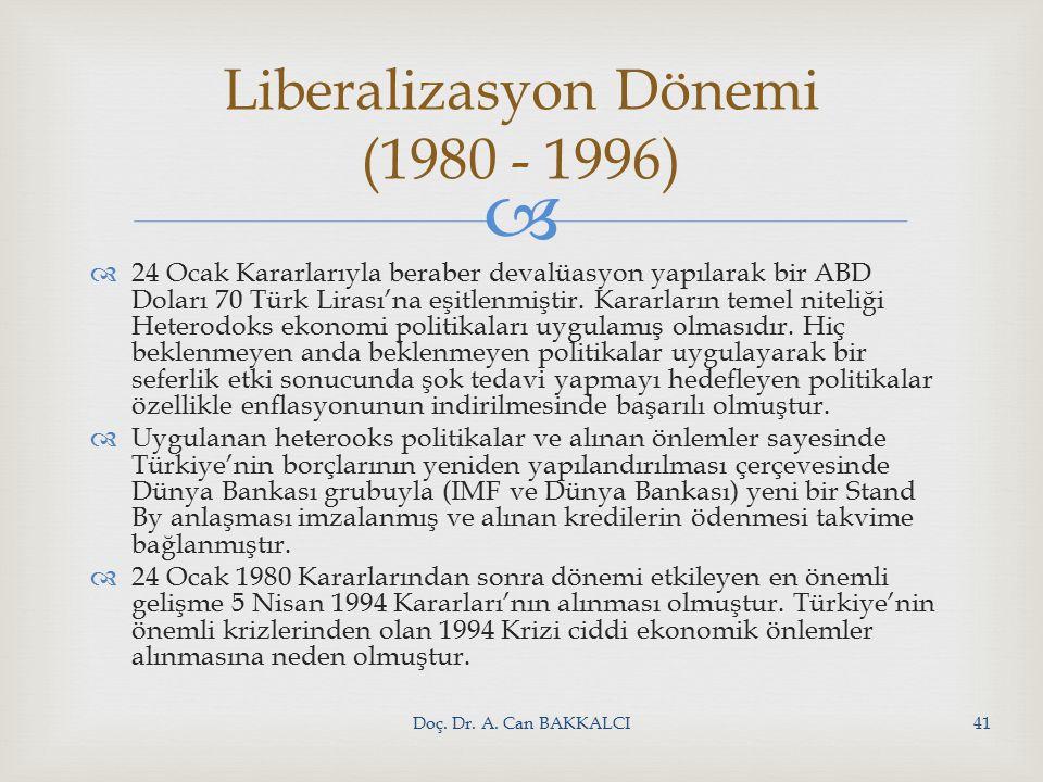   24 Ocak Kararlarıyla beraber devalüasyon yapılarak bir ABD Doları 70 Türk Lirası'na eşitlenmiştir.