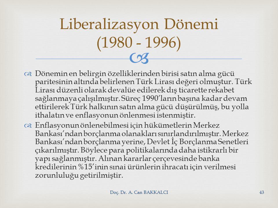   Dönemin en belirgin özelliklerinden birisi satın alma gücü paritesinin altında belirlenen Türk Lirası değeri olmuştur.