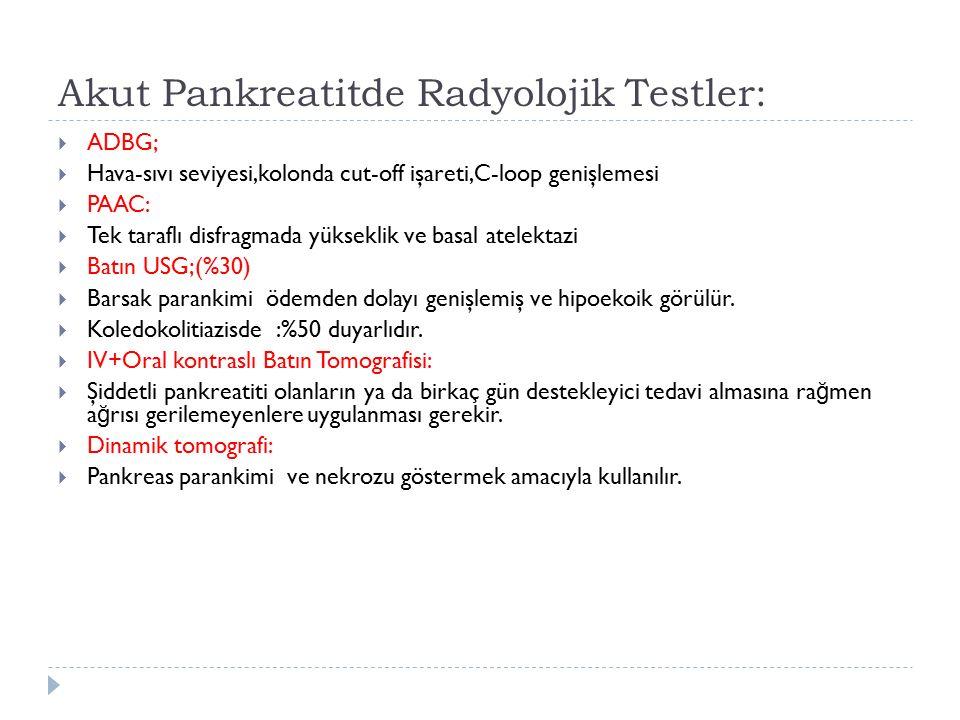 Akut Pankreatitde Radyolojik Testler:  ADBG;  Hava-sıvı seviyesi,kolonda cut-off işareti,C-loop genişlemesi  PAAC:  Tek taraflı disfragmada yüksek
