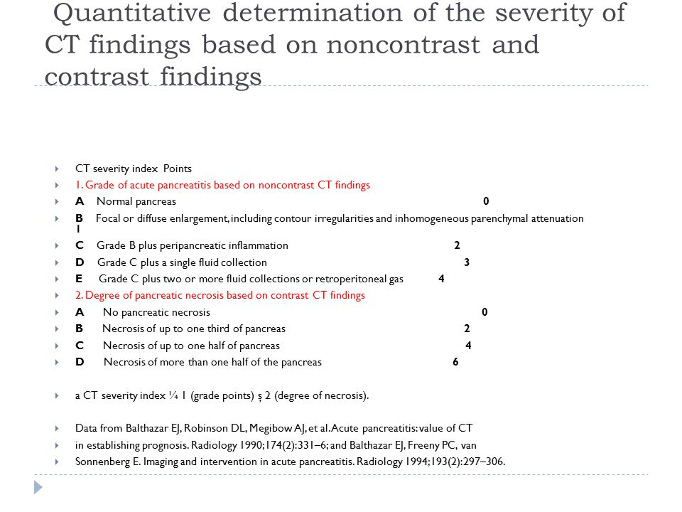 Quantitative determination of the severity of CT findings based on noncontrast and contrast findings  CT severity index Points  1. Grade of acute pa