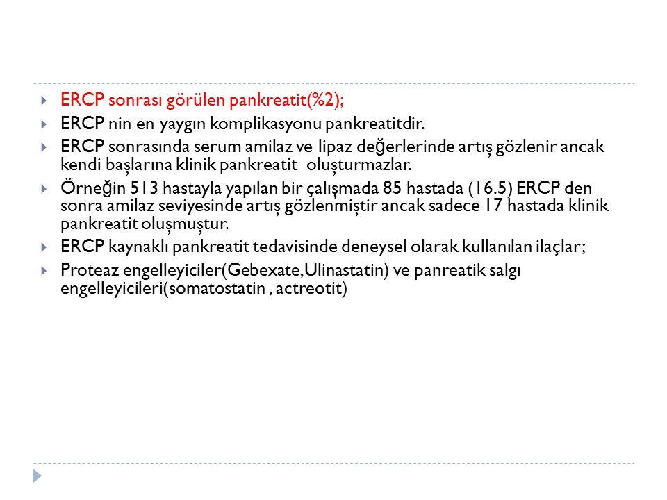  ERCP sonrası görülen pankreatit(%2);  ERCP nin en yaygın komplikasyonu pankreatitdir.  ERCP sonrasında serum amilaz ve lipaz de ğ erlerinde artış