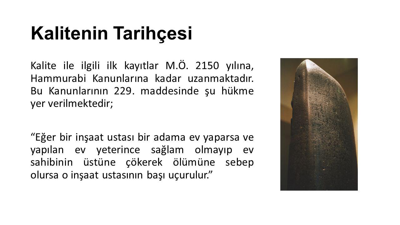 Kalitenin Tarihçesi Kalite ile ilgili ilk kayıtlar M.Ö. 2150 yılına, Hammurabi Kanunlarına kadar uzanmaktadır. Bu Kanunlarının 229. maddesinde şu hükm