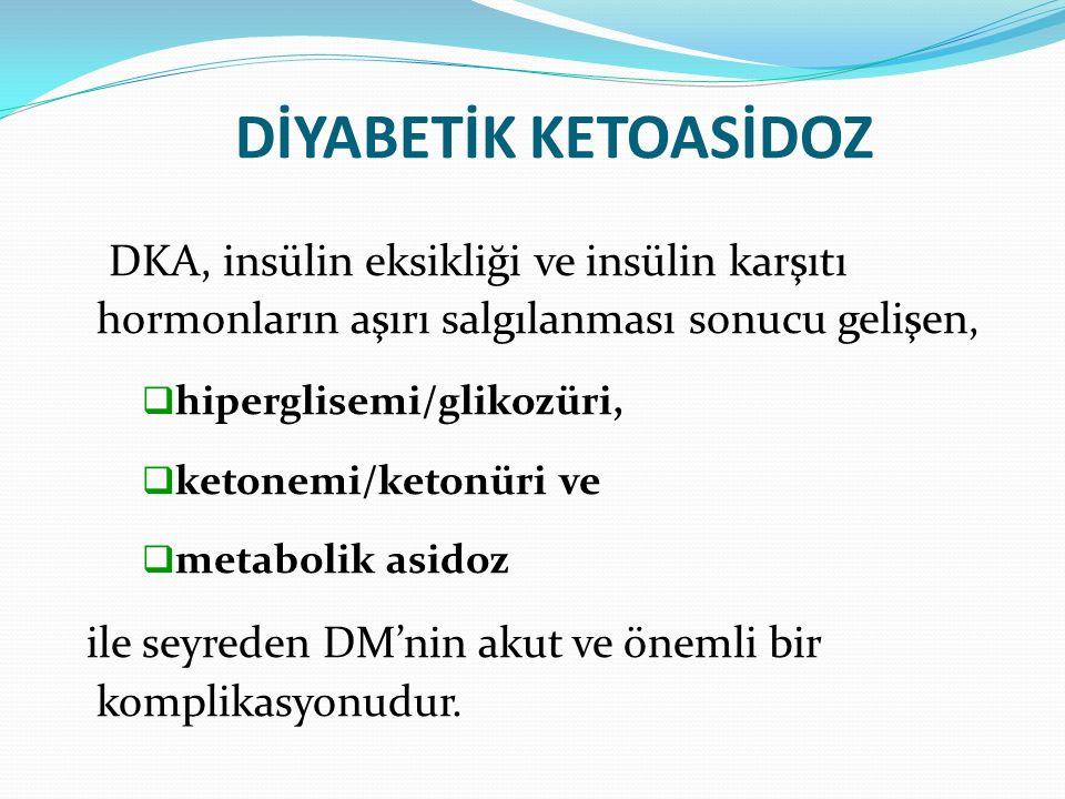 DİYABETİK KETOASİDOZ DKA, insülin eksikliği ve insülin karşıtı hormonların aşırı salgılanması sonucu gelişen,  hiperglisemi/glikozüri,  ketonemi/ketonüri ve  metabolik asidoz ile seyreden DM'nin akut ve önemli bir komplikasyonudur.