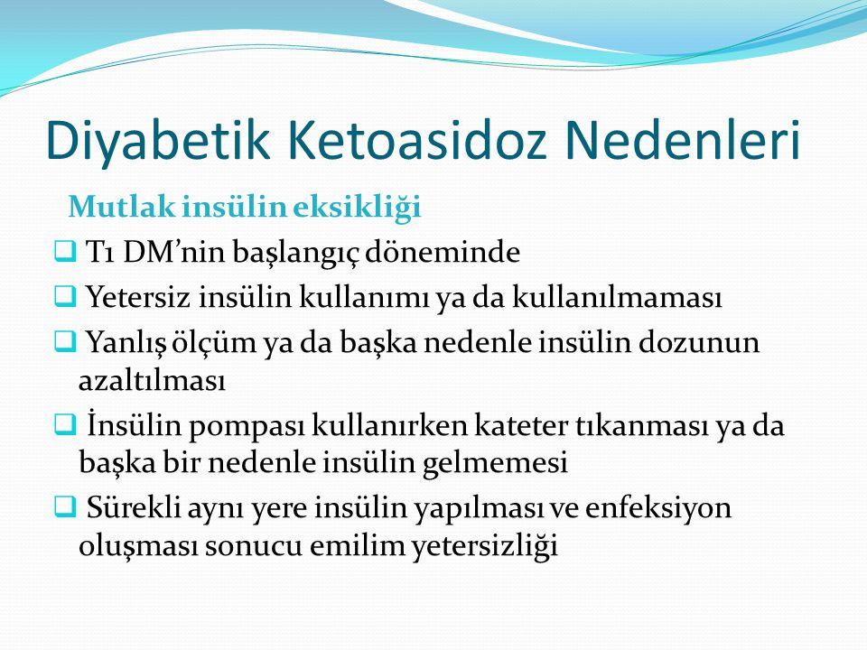 Diyabetik Ketoasidoz Nedenleri Mutlak insülin eksikliği  T1 DM'nin başlangıç döneminde  Yetersiz insülin kullanımı ya da kullanılmaması  Yanlış ölçüm ya da başka nedenle insülin dozunun azaltılması  İnsülin pompası kullanırken kateter tıkanması ya da başka bir nedenle insülin gelmemesi  Sürekli aynı yere insülin yapılması ve enfeksiyon oluşması sonucu emilim yetersizliği