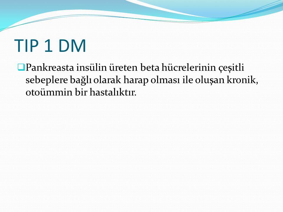 TIP 1 DM  Pankreasta insülin üreten beta hücrelerinin çeşitli sebeplere bağlı olarak harap olması ile oluşan kronik, otoümmin bir hastalıktır.