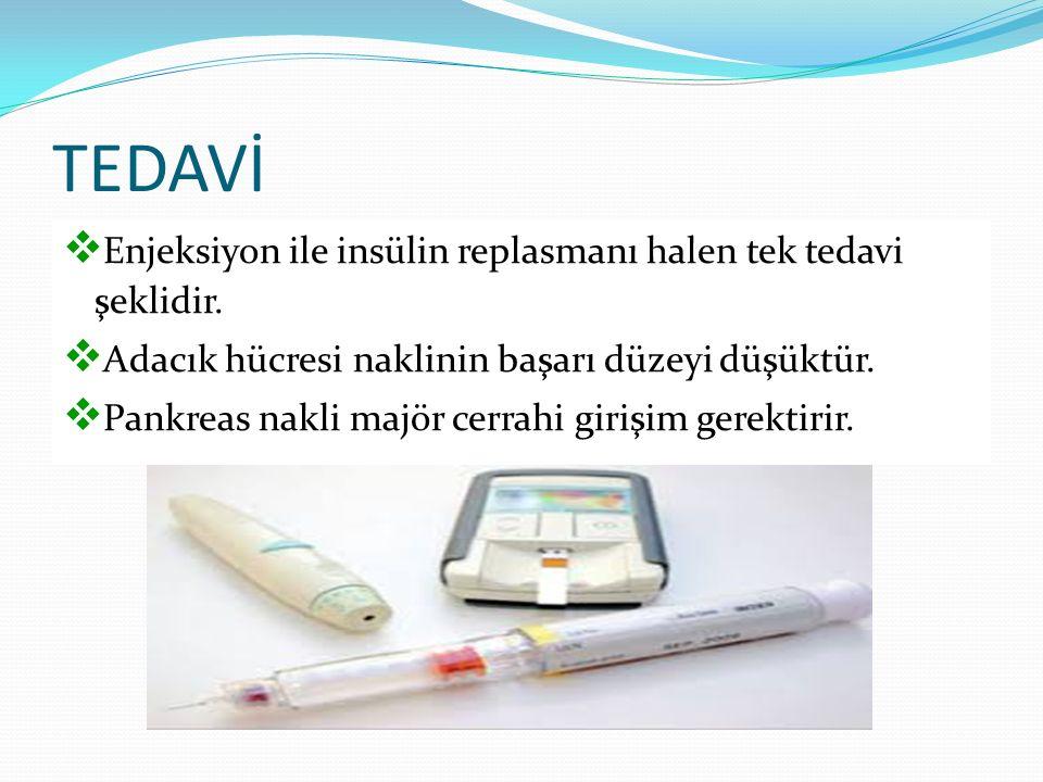 TEDAVİ  Enjeksiyon ile insülin replasmanı halen tek tedavi şeklidir.