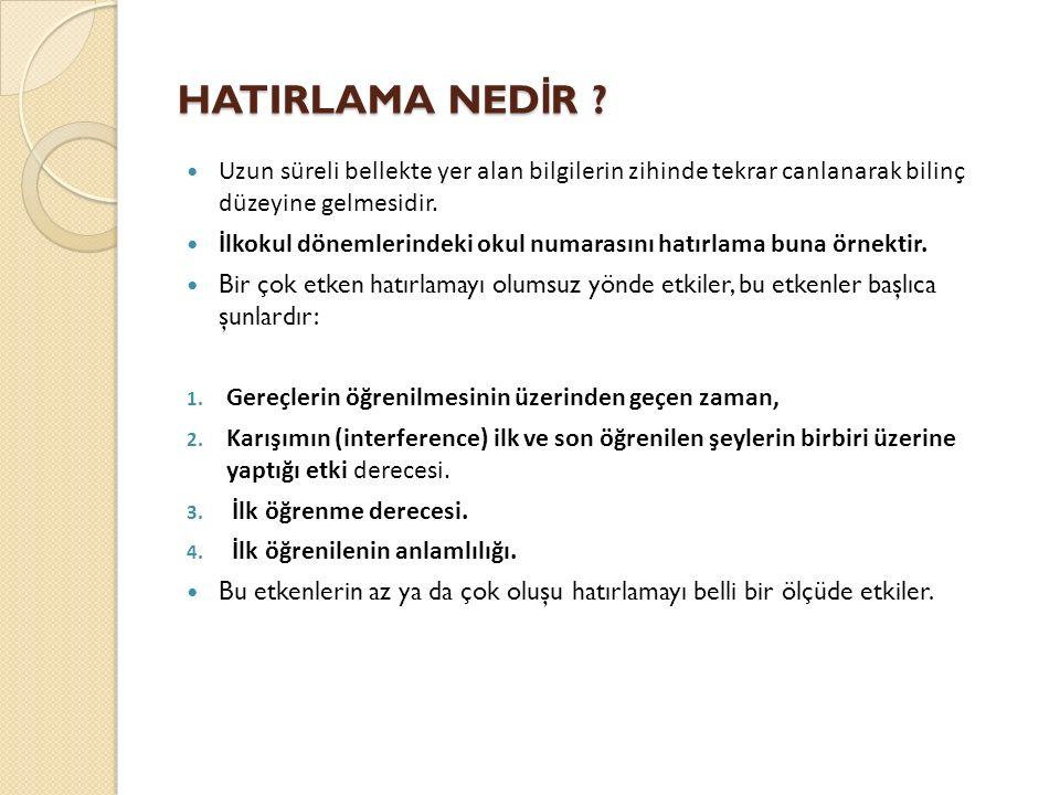 HATIRLAMA NED İ R .