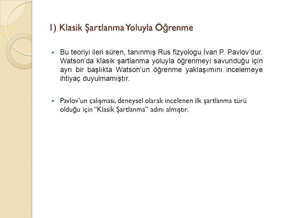 1) Klasik Şartlanma Yoluyla Ö ğ renme Bu teoriyi ileri süren, tanınmış Rus fizyologu İvan P.