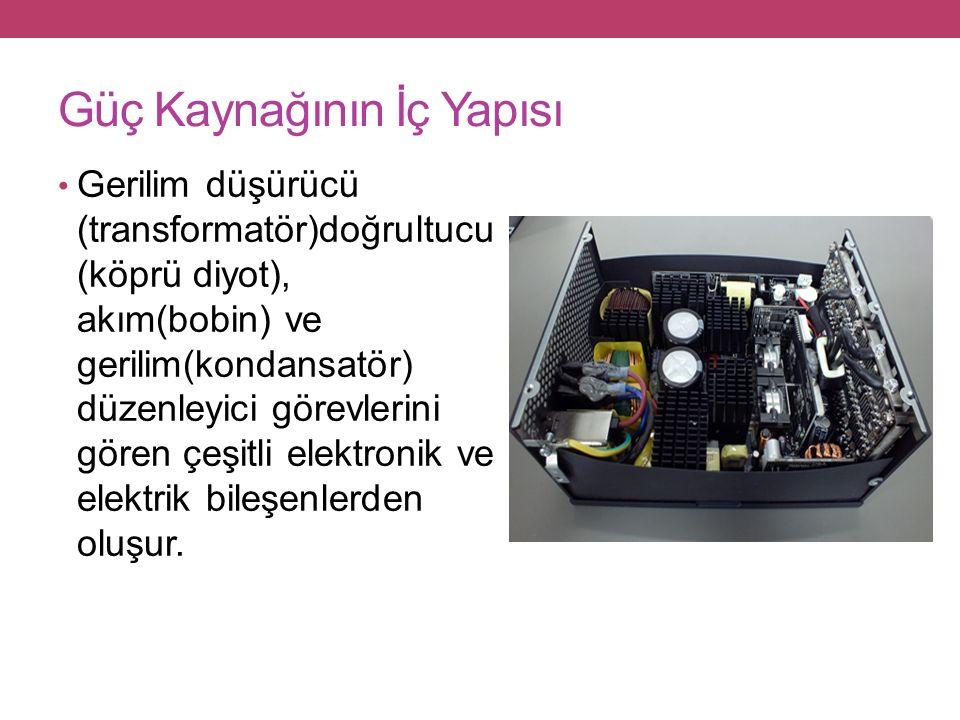 Güç Kaynağının İç Yapısı Gerilim düşürücü (transformatör)doğrultucu (köprü diyot), akım(bobin) ve gerilim(kondansatör) düzenleyici görevlerini gören çeşitli elektronik ve elektrik bileşenlerden oluşur.