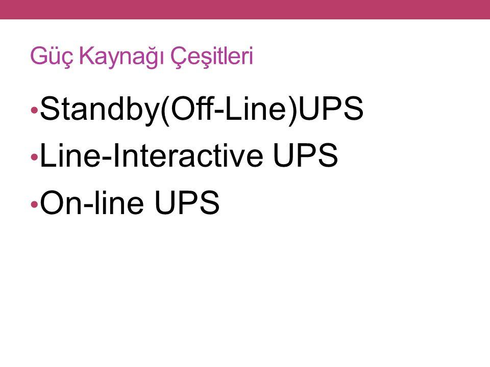 Güç Kaynağı Çeşitleri Standby(Off-Line)UPS Line-Interactive UPS On-line UPS