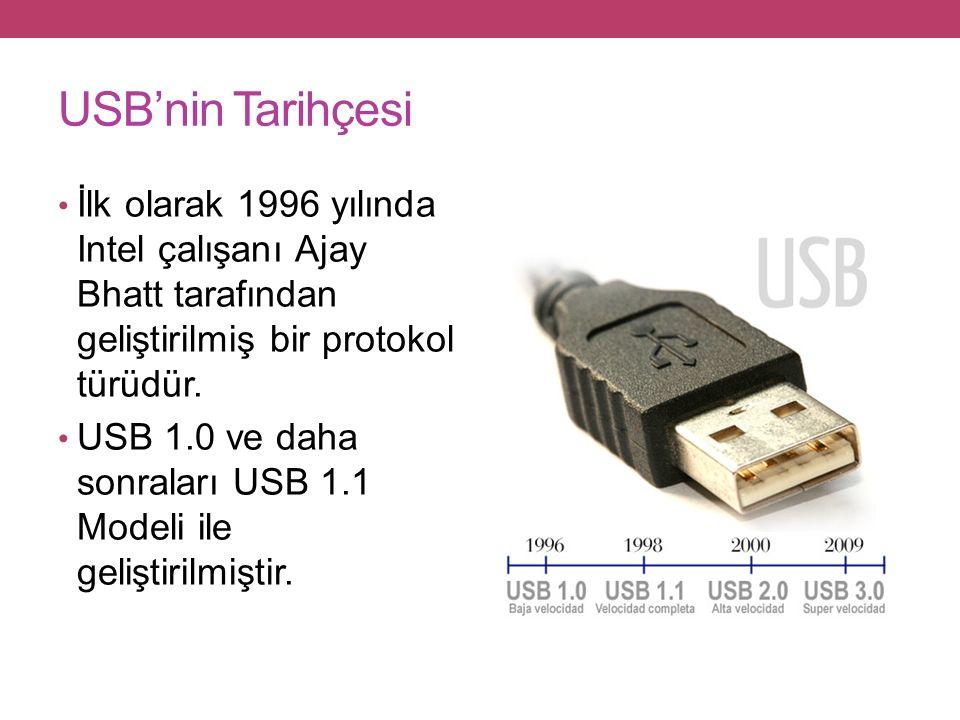 USB'nin Tarihçesi İlk olarak 1996 yılında Intel çalışanı Ajay Bhatt tarafından geliştirilmiş bir protokol türüdür.