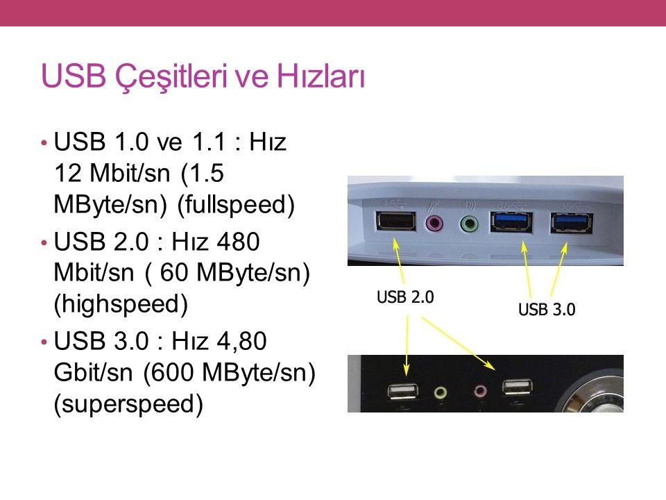 USB Çeşitleri ve Hızları USB 1.0 ve 1.1 : Hız 12 Mbit/sn (1.5 MByte/sn) (fullspeed) USB 2.0 : Hız 480 Mbit/sn ( 60 MByte/sn) (highspeed) USB 3.0 : Hız 4,80 Gbit/sn (600 MByte/sn) (superspeed)