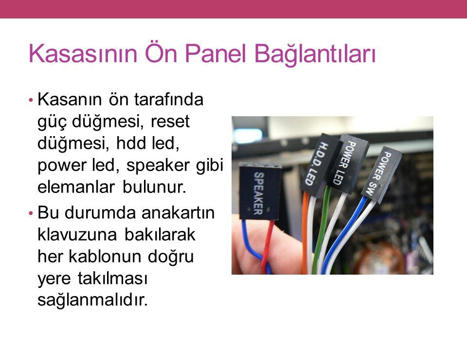 Kasasının Ön Panel Bağlantıları Kasanın ön tarafında güç düğmesi, reset düğmesi, hdd led, power led, speaker gibi elemanlar bulunur.