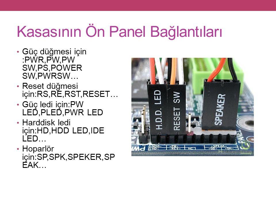 Kasasının Ön Panel Bağlantıları Güç düğmesi için :PWR,PW,PW SW,PS,POWER SW,PWRSW… Reset düğmesi için:RS,RE,RST,RESET… Güç ledi için:PW LED,PLED,PWR LED Harddisk ledi için:HD,HDD LED,IDE LED… Hoparlör için:SP,SPK,SPEKER,SP EAK…