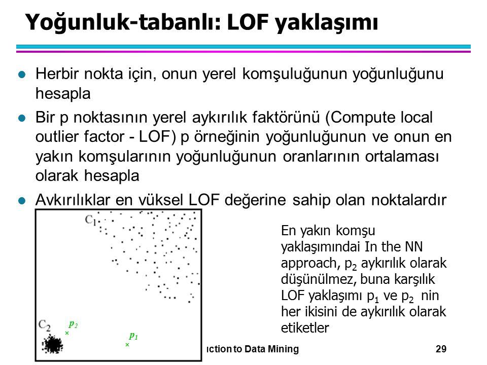 11/29/2007 Introduction to Data Mining 29 Yoğunluk-tabanlı: LOF yaklaşımı l Herbir nokta için, onun yerel komşuluğunun yoğunluğunu hesapla l Bir p nok