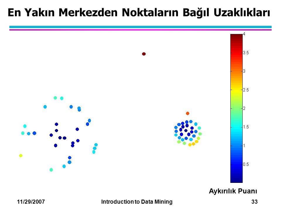 11/29/2007 Introduction to Data Mining 33 En Yakın Merkezden Noktaların Bağıl Uzaklıkları Aykırılık Puanı
