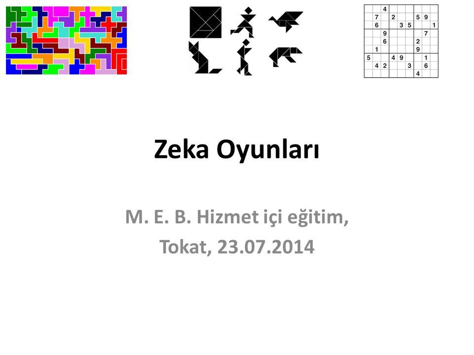 Zeka Oyunları M. E. B. Hizmet içi eğitim, Tokat, 23.07.2014