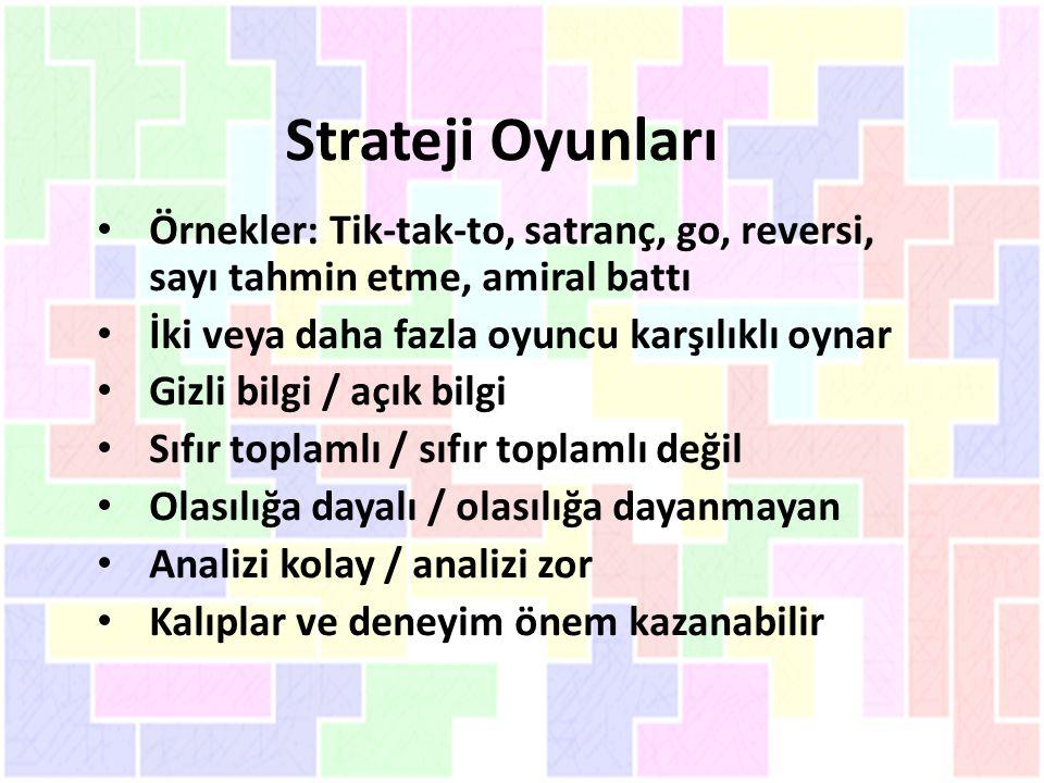 Strateji Oyunları Örnekler: Tik-tak-to, satranç, go, reversi, sayı tahmin etme, amiral battı İki veya daha fazla oyuncu karşılıklı oynar Gizli bilgi /