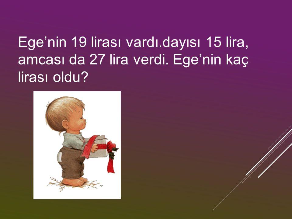 Ege'nin 19 lirası vardı.dayısı 15 lira, amcası da 27 lira verdi. Ege'nin kaç lirası oldu?