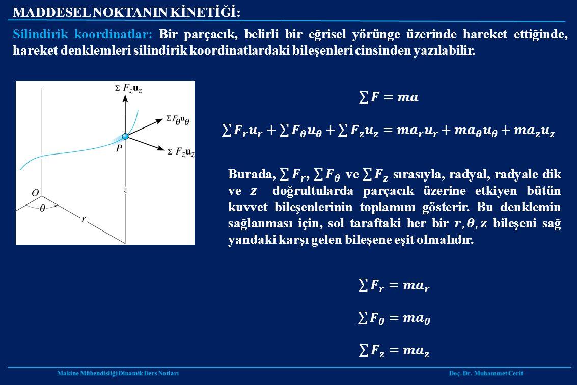 MADDESEL NOKTANIN KİNETİĞİ: Silindirik koordinatlar: Bir parçacık, belirli bir eğrisel yörünge üzerinde hareket ettiğinde, hareket denklemleri silindirik koordinatlardaki bileşenleri cinsinden yazılabilir.