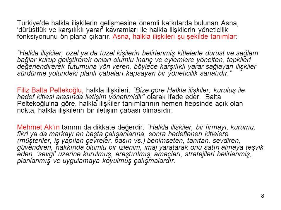 8 Türkiye'de halkla ilişkilerin gelişmesine önemli katkılarda bulunan Asna, 'dürüstlük ve karşılıklı yarar' kavramları ile halkla ilişkilerin yönetici