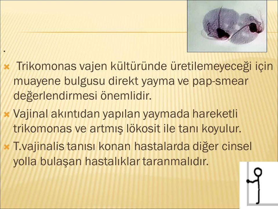 .  Trikomonas vajen kültüründe üretilemeyeceği için muayene bulgusu direkt yayma ve pap-smear değerlendirmesi önemlidir.  Vajinal akıntıdan yapılan