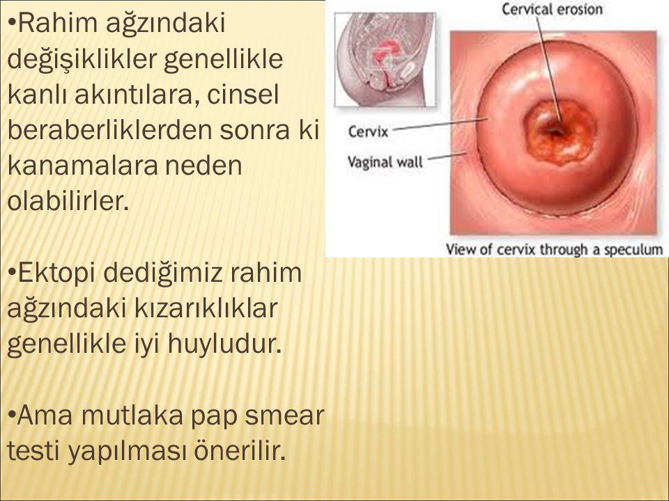 Rahim ağzındaki değişiklikler genellikle kanlı akıntılara, cinsel beraberliklerden sonra ki kanamalara neden olabilirler. Ektopi dediğimiz rahim ağzın