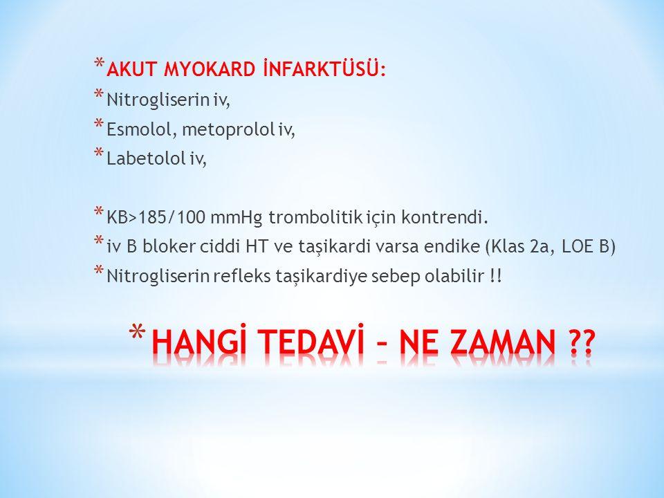 * AKUT MYOKARD İNFARKTÜSÜ: * Nitrogliserin iv, * Esmolol, metoprolol iv, * Labetolol iv, * KB>185/100 mmHg trombolitik için kontrendi.