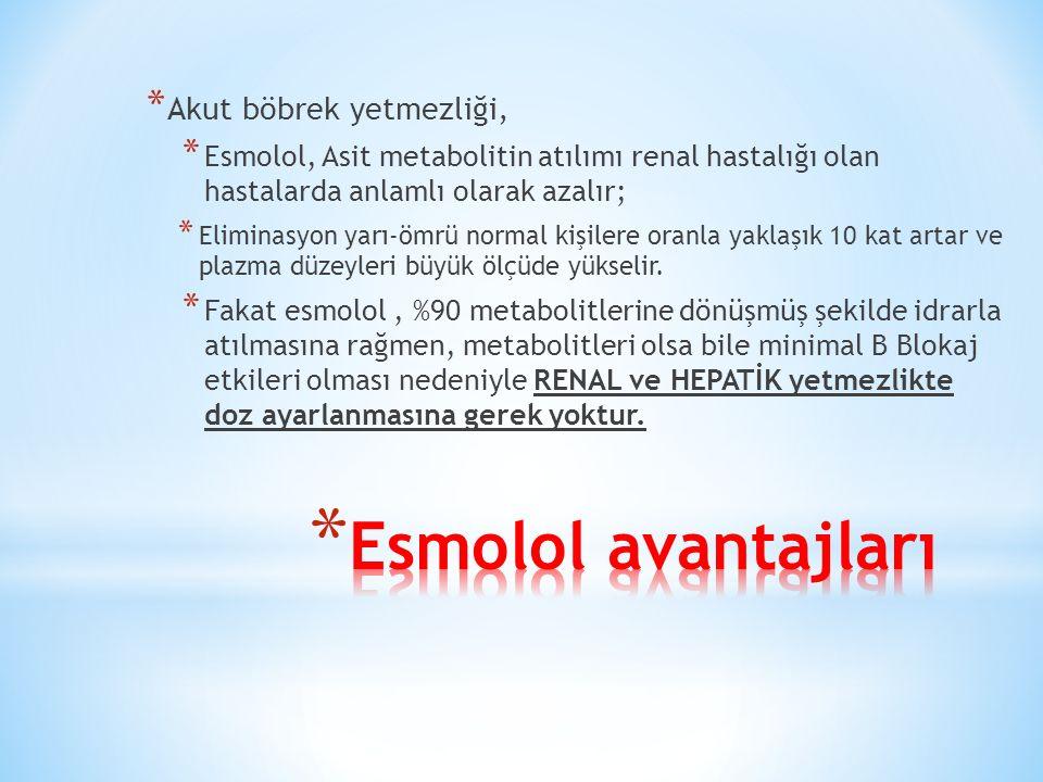 * Akut böbrek yetmezliği, * Esmolol, Asit metabolitin atılımı renal hastalığı olan hastalarda anlamlı olarak azalır; * Eliminasyon yarı-ömrü normal kişilere oranla yaklaşık 10 kat artar ve plazma düzeyleri büyük ölçüde yükselir.