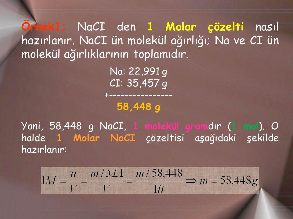 Örnek1; NaCI den 1 Molar çözelti nasıl hazırlanır.