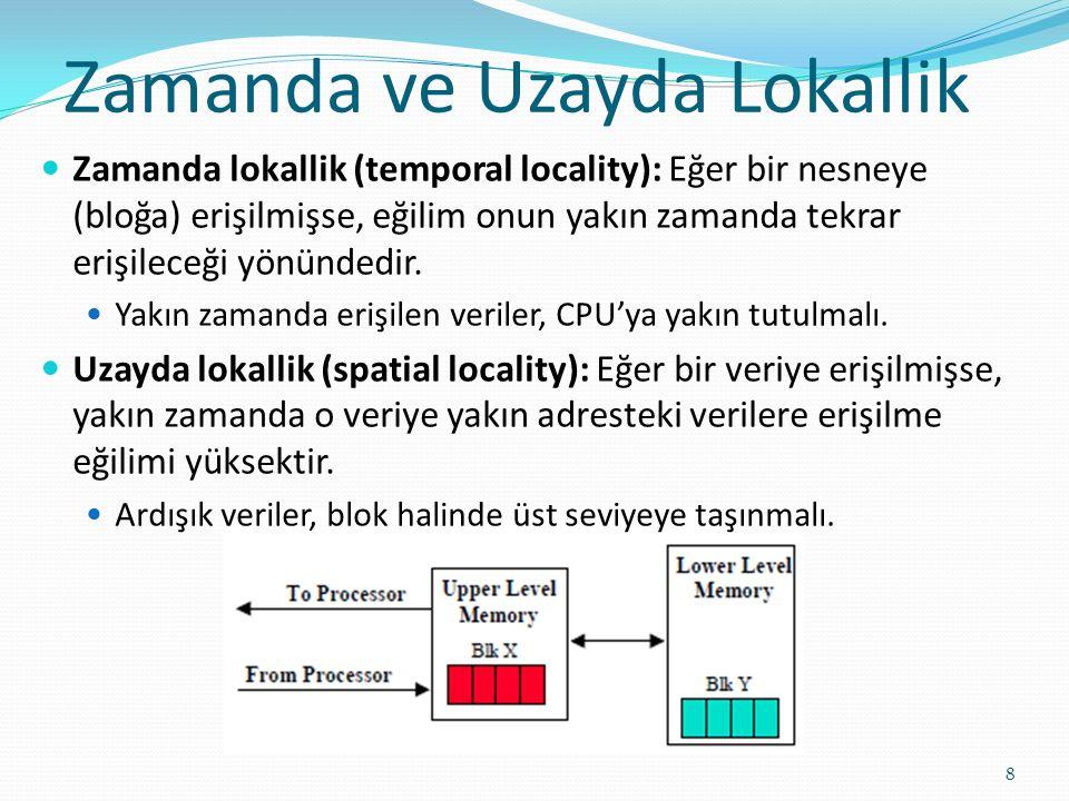 Zamanda lokallik (temporal locality): Eğer bir nesneye (bloğa) erişilmişse, eğilim onun yakın zamanda tekrar erişileceği yönündedir.