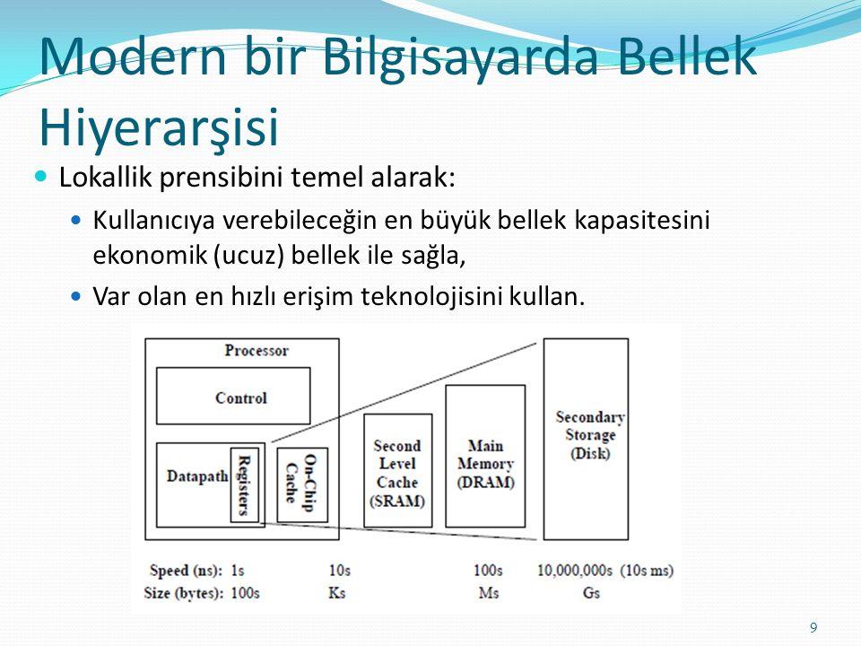 Modern bir Bilgisayarda Bellek Hiyerarşisi 9 Lokallik prensibini temel alarak: Kullanıcıya verebileceğin en büyük bellek kapasitesini ekonomik (ucuz) bellek ile sağla, Var olan en hızlı erişim teknolojisini kullan.