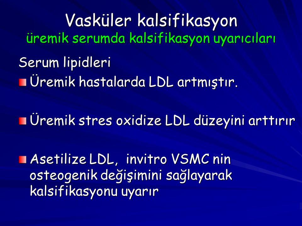 Vasküler kalsifikasyon üremik serumda kalsifikasyon uyarıcıları Serum lipidleri Üremik hastalarda LDL artmıştır. Üremik stres oxidize LDL düzeyini art