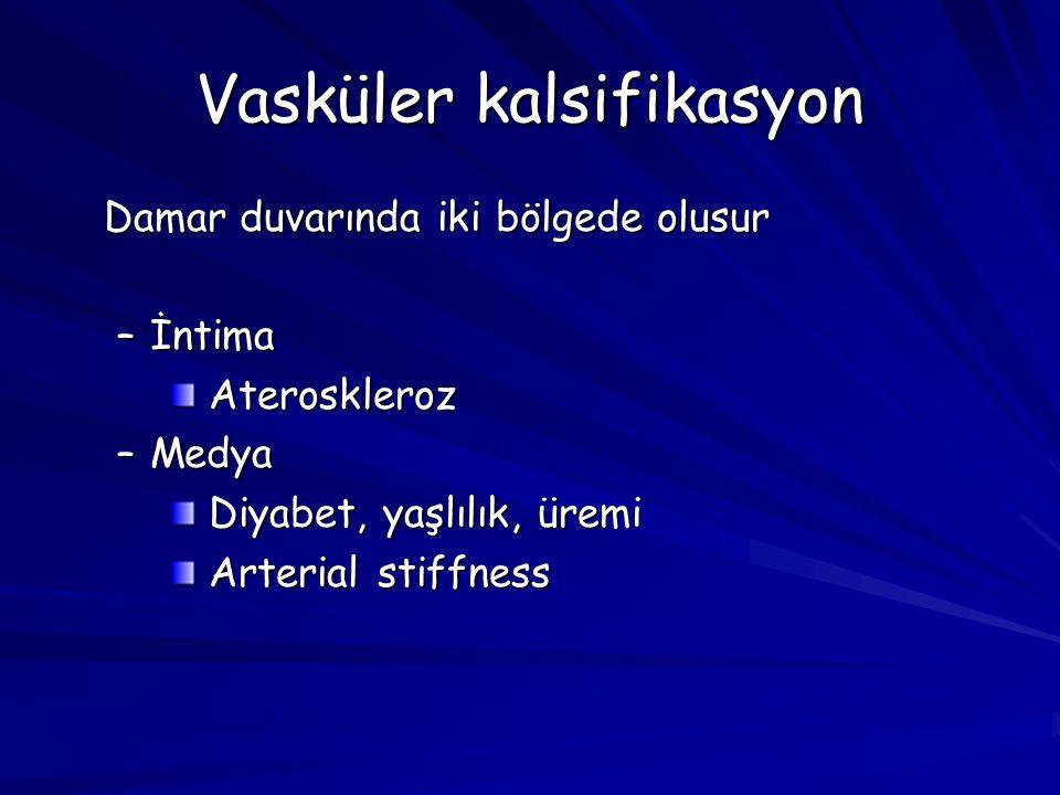 Vasküler kalsifikasyon Damar duvarında iki bölgede olusur –İntima Ateroskleroz Ateroskleroz –Medya Diyabet, yaşlılık, üremi Diyabet, yaşlılık, üremi Arterial stiffness Arterial stiffness