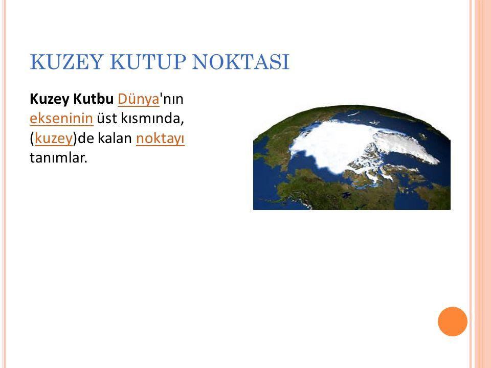 KUZEY KUTUP NOKTASI Kuzey Kutbu Dünya nın ekseninin üst kısmında, (kuzey)de kalan noktayı tanımlar.Dünya eksenininkuzeynoktayı