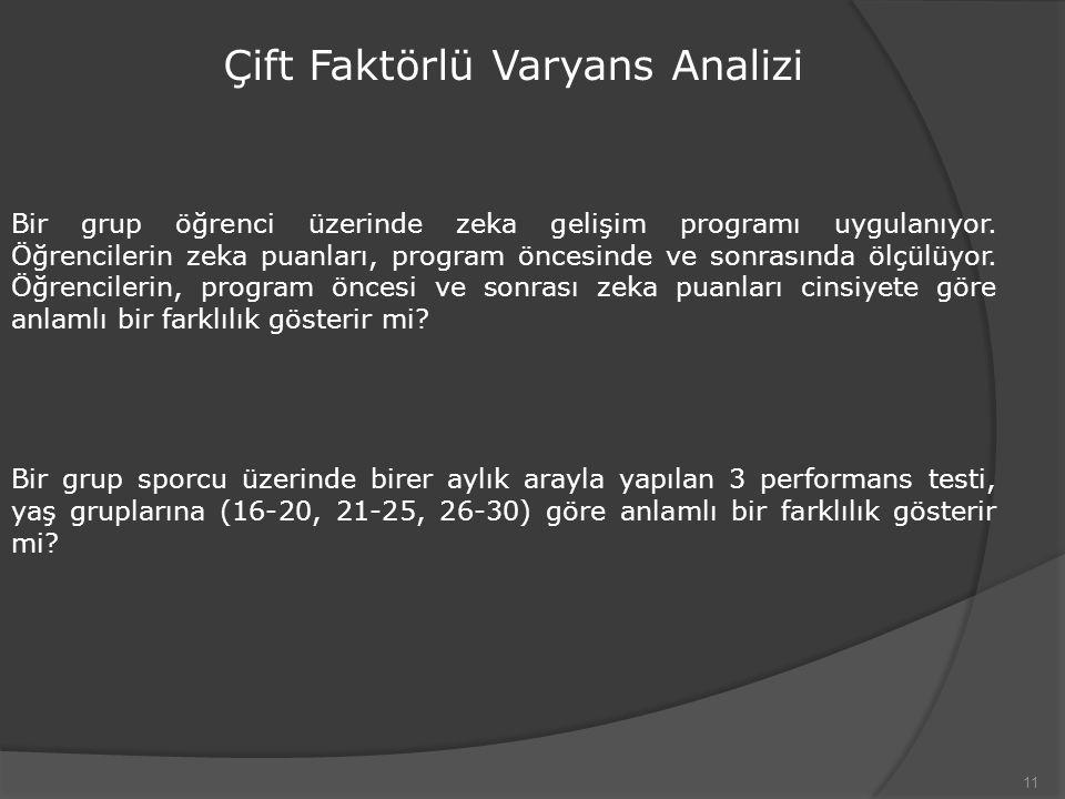 11 Çift Faktörlü Varyans Analizi Bir grup öğrenci üzerinde zeka gelişim programı uygulanıyor. Öğrencilerin zeka puanları, program öncesinde ve sonrası