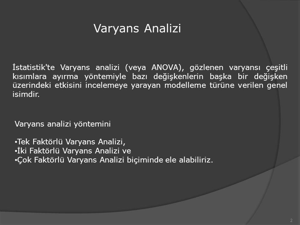 Varyans Analizi 2 İstatistik'te Varyans analizi (veya ANOVA), gözlenen varyansı çeşitli kısımlara ayırma yöntemiyle bazı değişkenlerin başka bir değiş