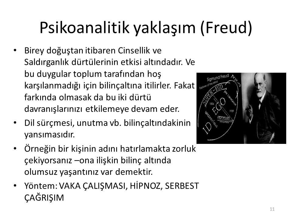 Psikoanalitik yaklaşım (Freud) Birey doğuştan itibaren Cinsellik ve Saldırganlık dürtülerinin etkisi altındadır. Ve bu duygular toplum tarafından hoş