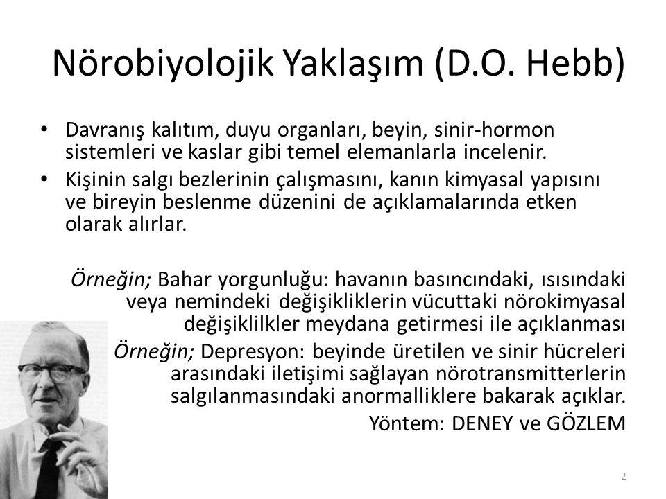 Nörobiyolojik Yaklaşım (D.O. Hebb) Davranış kalıtım, duyu organları, beyin, sinir-hormon sistemleri ve kaslar gibi temel elemanlarla incelenir. Kişini